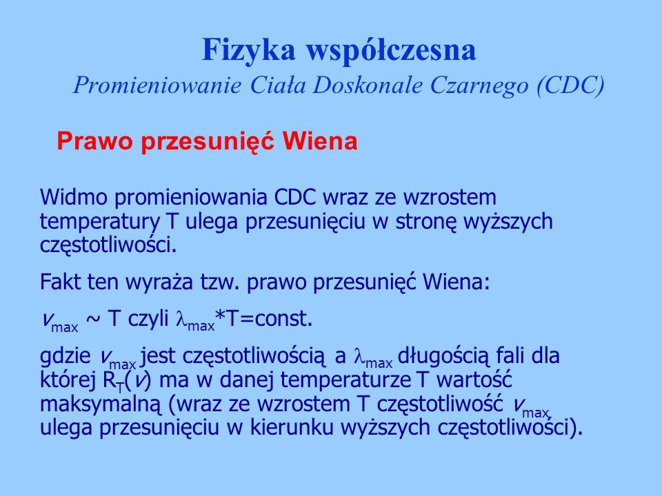 Prawo przesunięć Wiena Widmo promieniowania CDC wraz ze wzrostem temperatury T ulega przesunięciu w stronę wyższych częstotliwości. Fakt ten wyraża tz