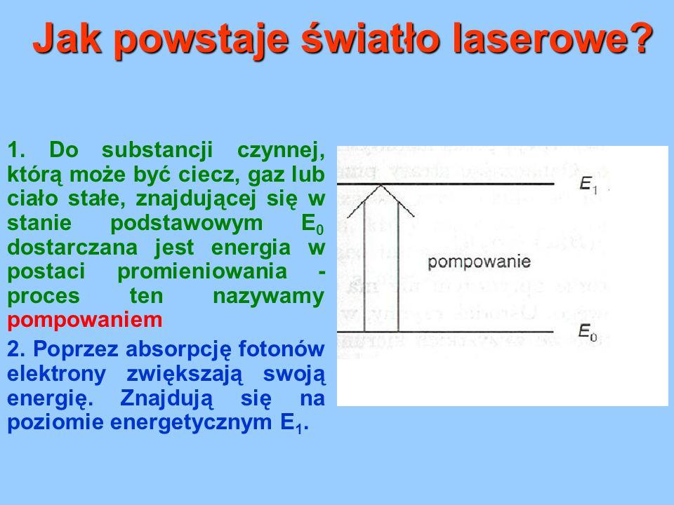 Jak powstaje światło laserowe? 1. Do substancji czynnej, którą może być ciecz, gaz lub ciało stałe, znajdującej się w stanie podstawowym E 0 dostarcza