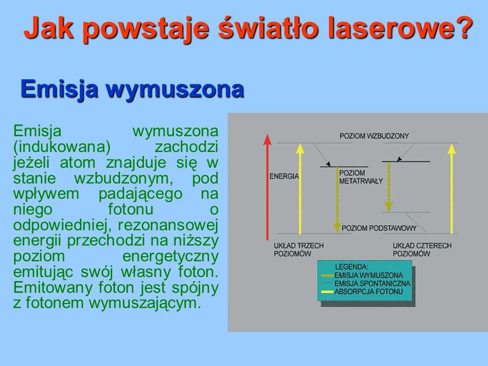 Emisja wymuszona Emisja wymuszona (indukowana) zachodzi jeżeli atom znajduje się w stanie wzbudzonym, pod wpływem padającego na niego fotonu o odpowie