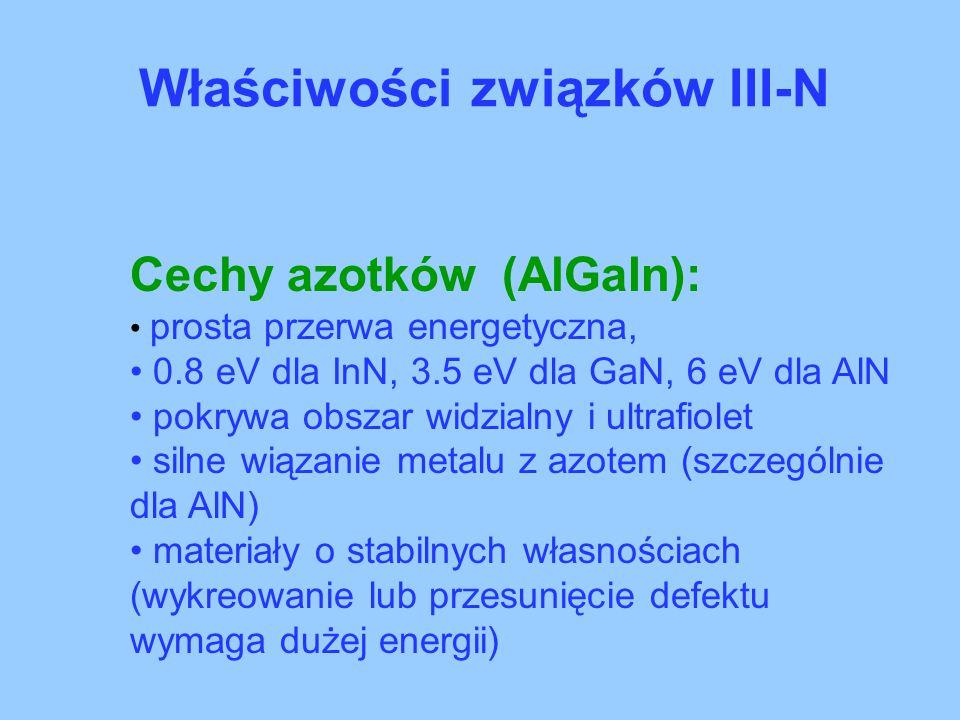Właściwości związków III-N Cechy azotków (AlGaIn): prosta przerwa energetyczna, 0.8 eV dla InN, 3.5 eV dla GaN, 6 eV dla AlN pokrywa obszar widzialny