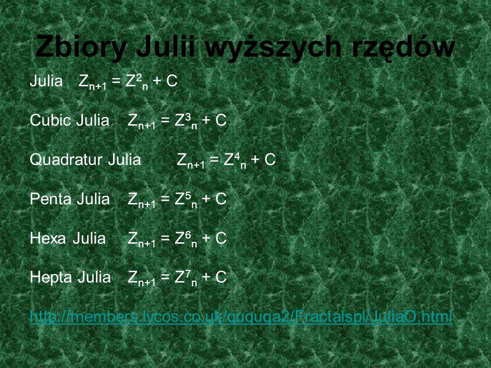 Zbiory Julii wyższych rzędów JuliaZ n+1 = Z 2 n + C Cubic JuliaZ n+1 = Z 3 n + C Quadratur JuliaZ n+1 = Z 4 n + C Penta JuliaZ n+1 = Z 5 n + C Hexa Ju