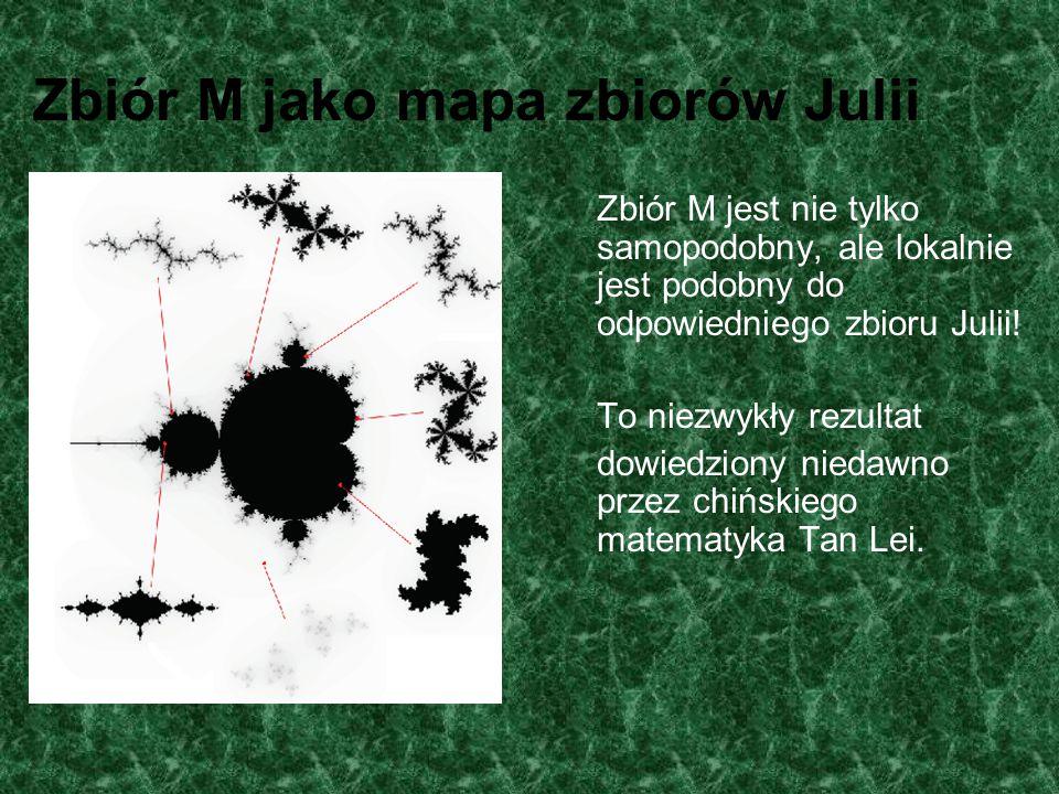 Zbiór M jako mapa zbiorów Julii Zbiór M jest nie tylko samopodobny, ale lokalnie jest podobny do odpowiedniego zbioru Julii! To niezwykły rezultat dow