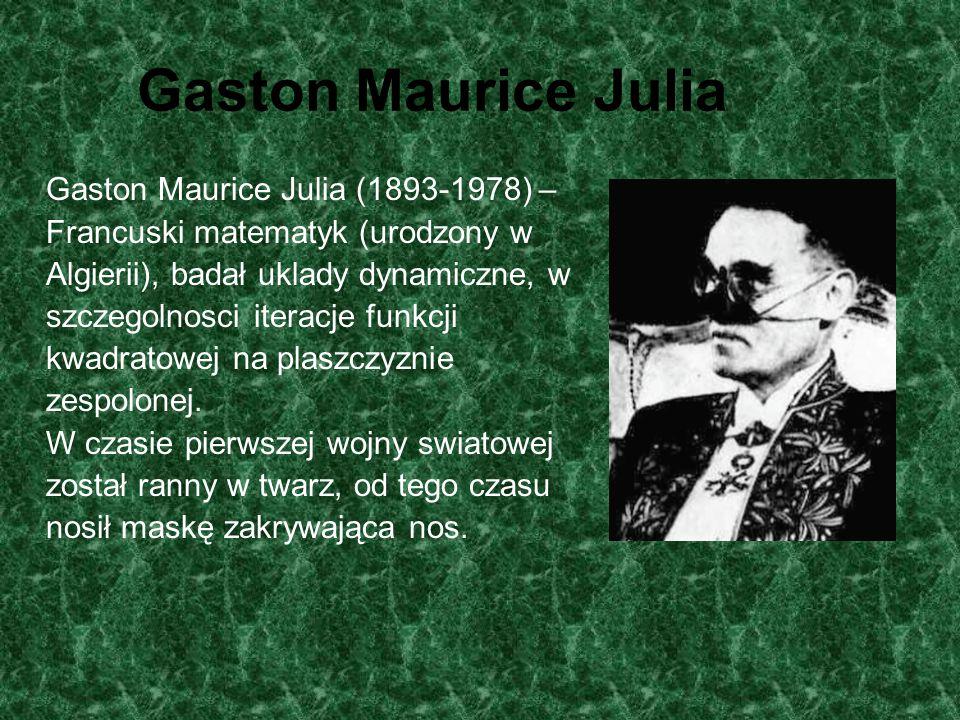 Zbiory Julii wyższych rzędów JuliaZ n+1 = Z 2 n + C Cubic JuliaZ n+1 = Z 3 n + C Quadratur JuliaZ n+1 = Z 4 n + C Penta JuliaZ n+1 = Z 5 n + C Hexa JuliaZ n+1 = Z 6 n + C Hepta JuliaZ n+1 = Z 7 n + C http://members.lycos.co.uk/ququqa2/Fractalspl/JuliaO.html