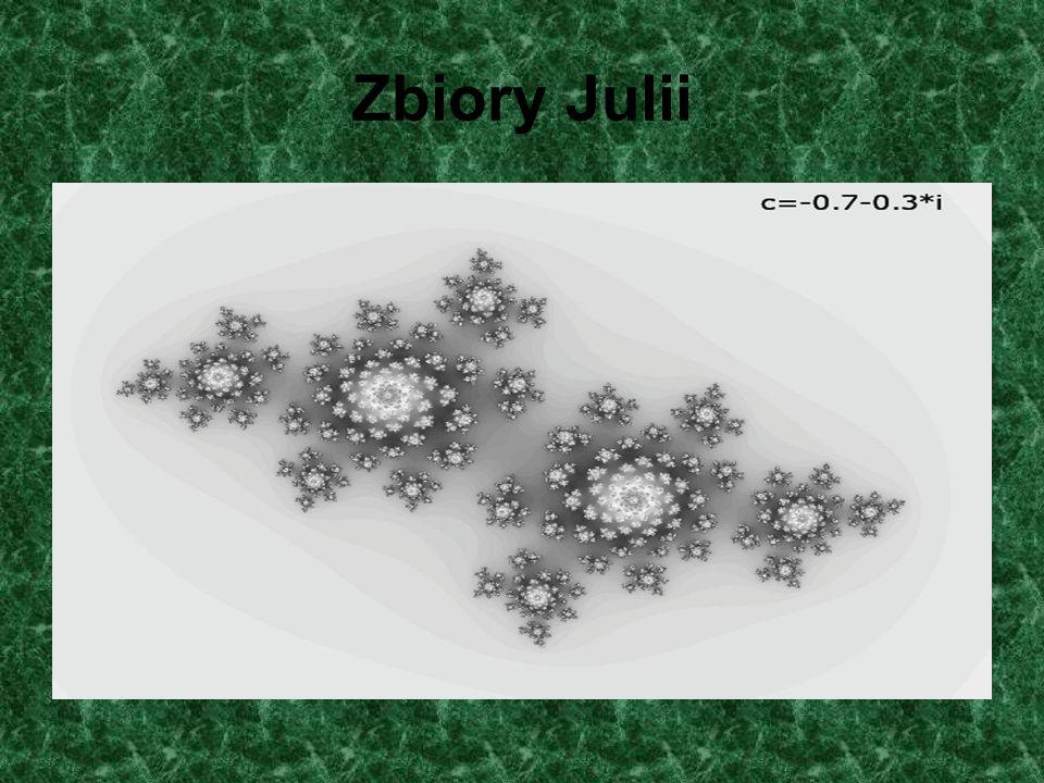 Zbiór M jako mapa zbiorów Julii Zbiór M jest nie tylko samopodobny, ale lokalnie jest podobny do odpowiedniego zbioru Julii.