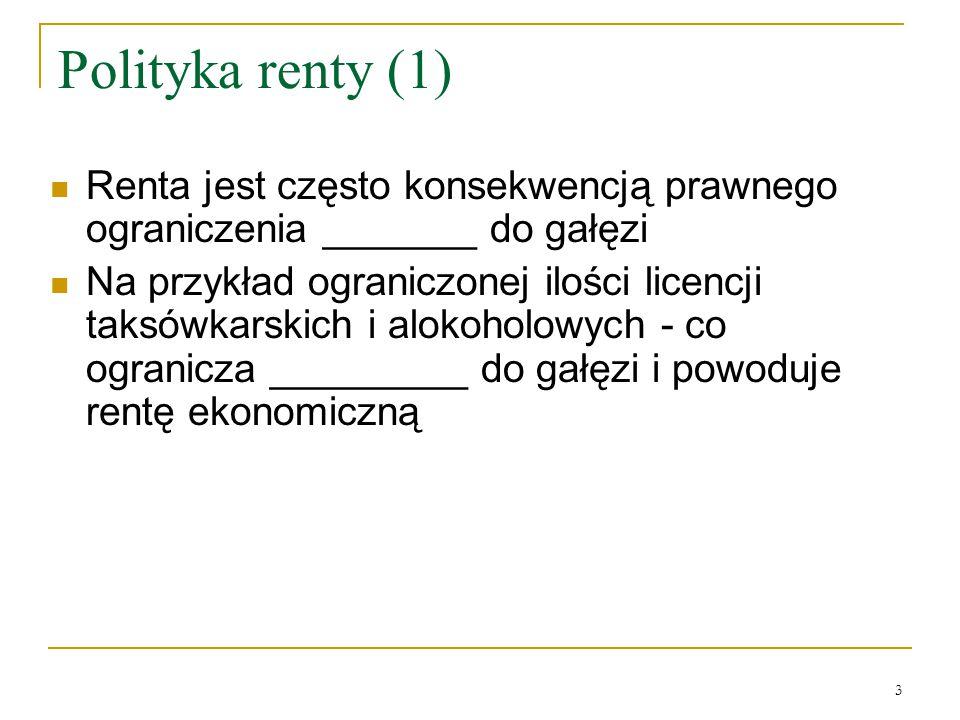 3 Polityka renty (1) Renta jest często konsekwencją prawnego ograniczenia _______ do gałęzi Na przykład ograniczonej ilości licencji taksówkarskich i