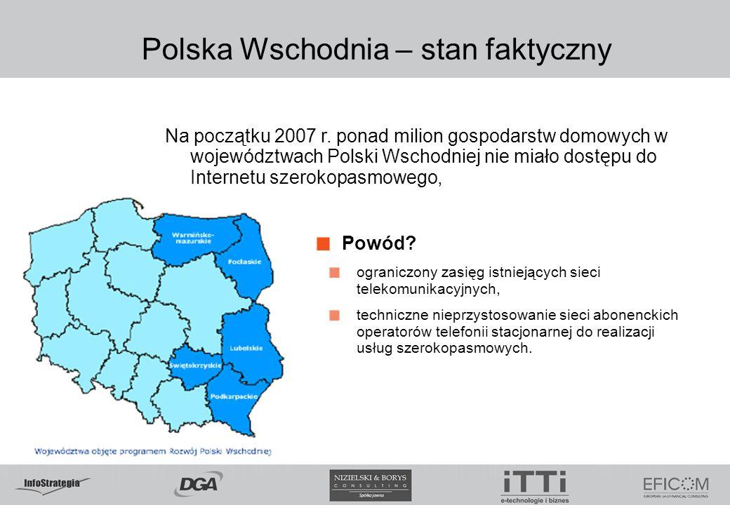 Polska Wschodnia – stan faktyczny Na początku 2007 r. ponad milion gospodarstw domowych w województwach Polski Wschodniej nie miało dostępu do Interne