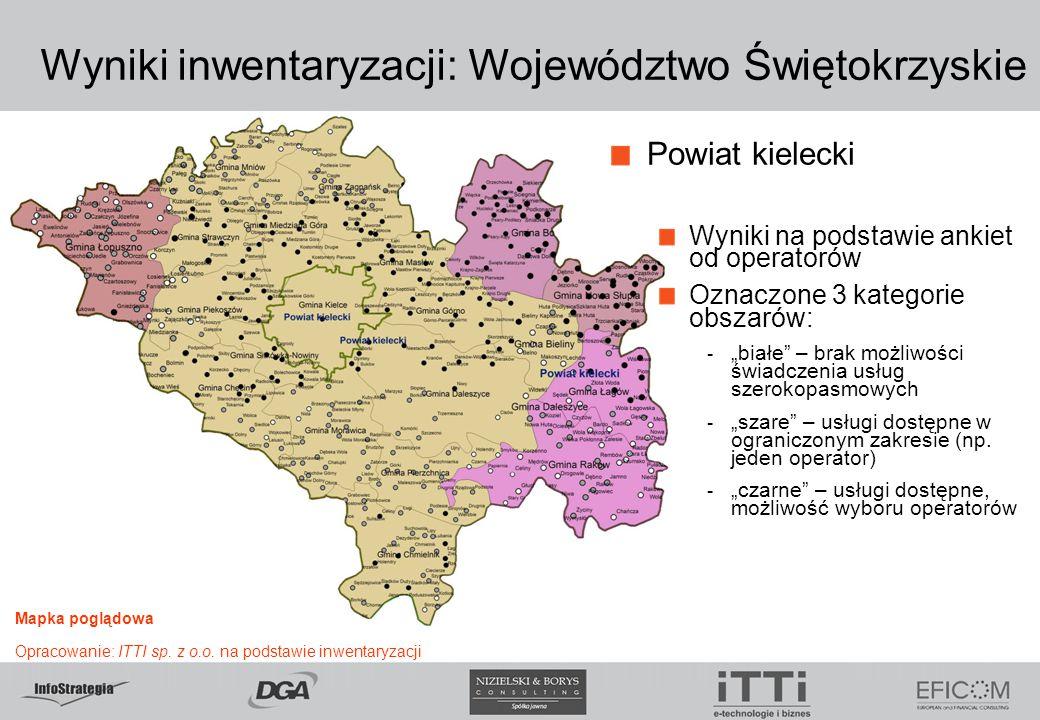 """Wyniki inwentaryzacji: Województwo Świętokrzyskie Powiat kielecki Wyniki na podstawie ankiet od operatorów Oznaczone 3 kategorie obszarów: - """"białe"""" –"""