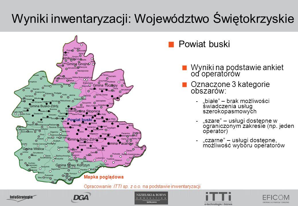"""Wyniki inwentaryzacji: Województwo Świętokrzyskie Powiat buski Wyniki na podstawie ankiet od operatorów Oznaczone 3 kategorie obszarów: - """"białe"""" – br"""