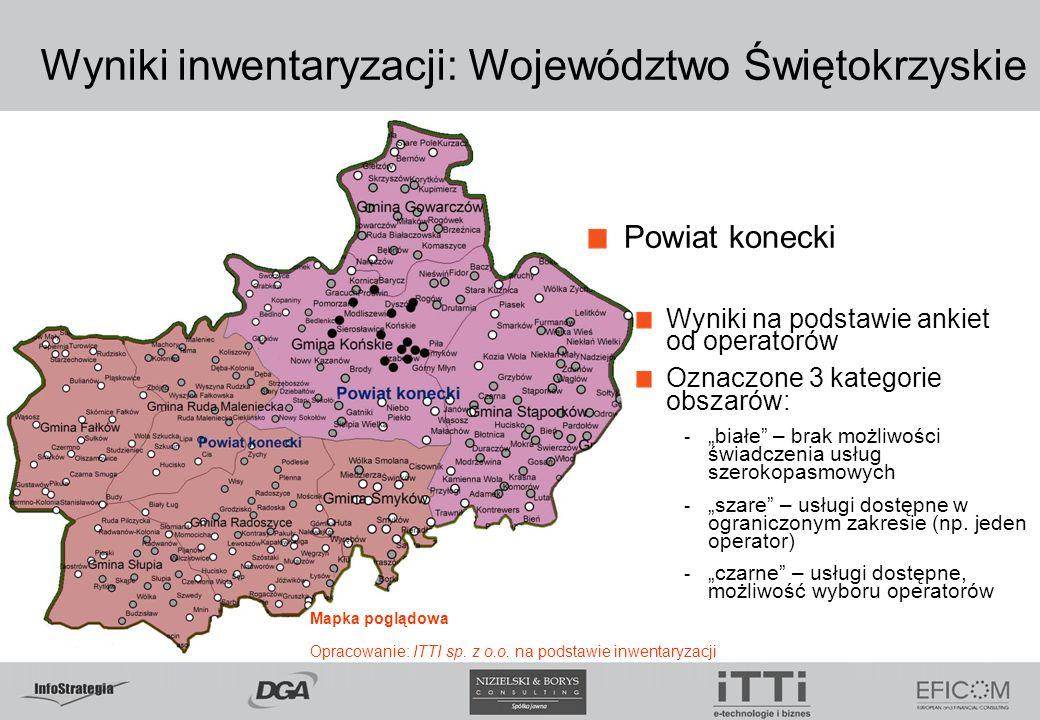 """Wyniki inwentaryzacji: Województwo Świętokrzyskie Powiat konecki Wyniki na podstawie ankiet od operatorów Oznaczone 3 kategorie obszarów: - """"białe"""" –"""