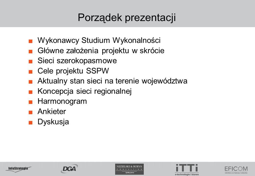 Porządek prezentacji Wykonawcy Studium Wykonalności Główne założenia projektu w skrócie Sieci szerokopasmowe Cele projektu SSPW Aktualny stan sieci na