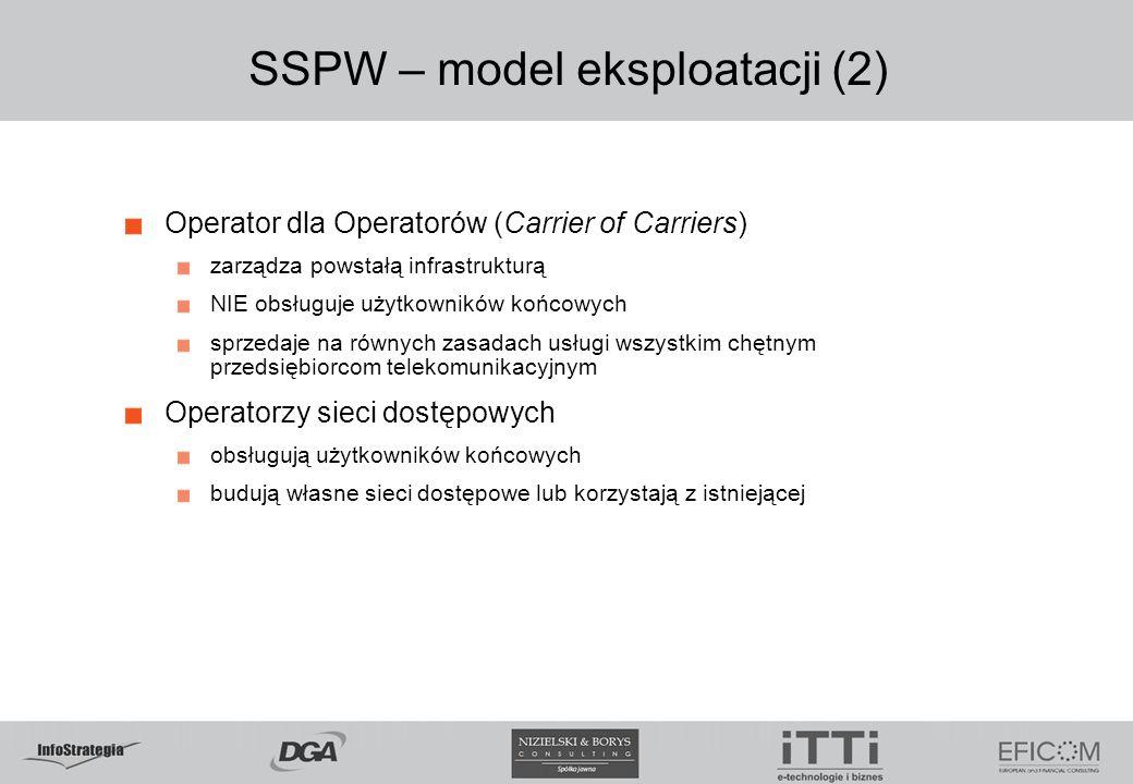 SSPW – model eksploatacji (2) Operator dla Operatorów (Carrier of Carriers) zarządza powstałą infrastrukturą NIE obsługuje użytkowników końcowych sprz