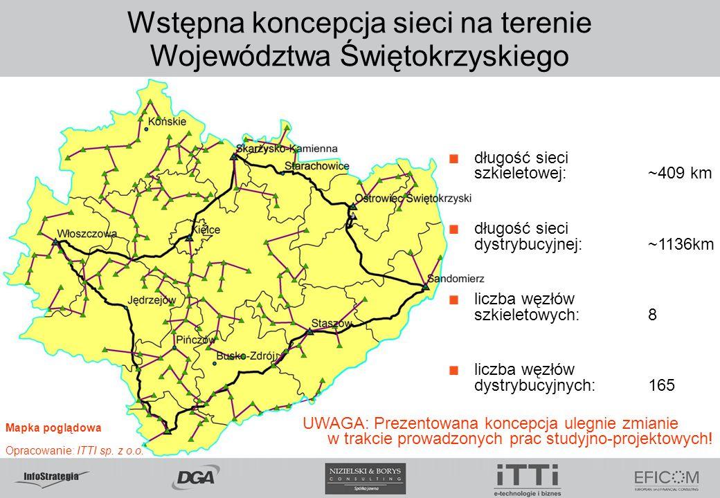 Wstępna koncepcja sieci na terenie Województwa Świętokrzyskiego długość sieci szkieletowej:~409 km długość sieci dystrybucyjnej:~1136km liczba węzłów