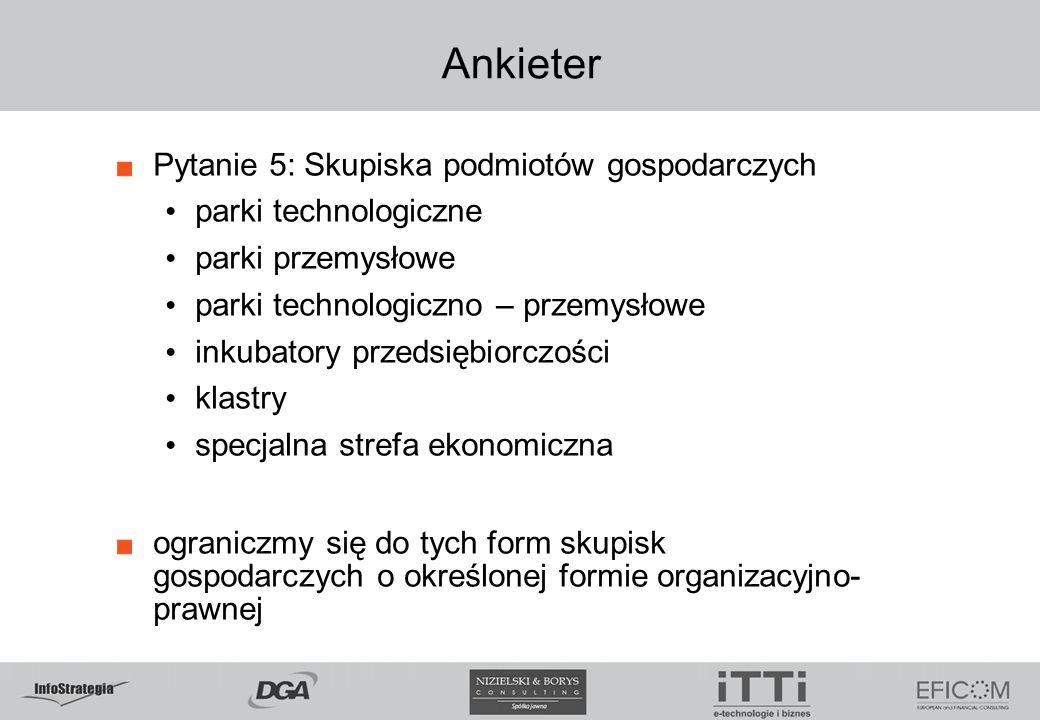 Pytanie 5: Skupiska podmiotów gospodarczych parki technologiczne parki przemysłowe parki technologiczno – przemysłowe inkubatory przedsiębiorczości kl