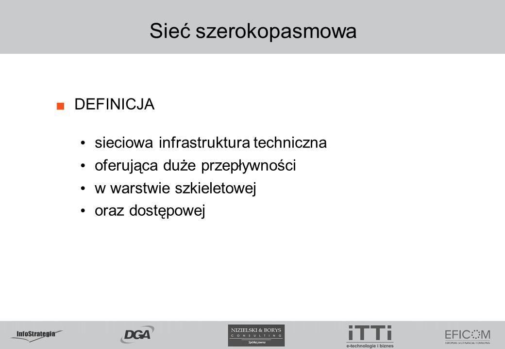 Sieć szerokopasmowa DEFINICJA sieciowa infrastruktura techniczna oferująca duże przepływności w warstwie szkieletowej oraz dostępowej