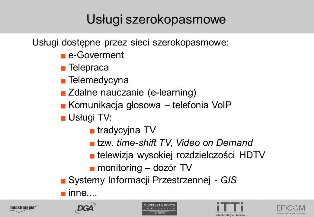 Usługi szerokopasmowe Usługi dostępne przez sieci szerokopasmowe: e-Goverment Telepraca Telemedycyna Zdalne nauczanie (e-learning) Komunikacja głosow
