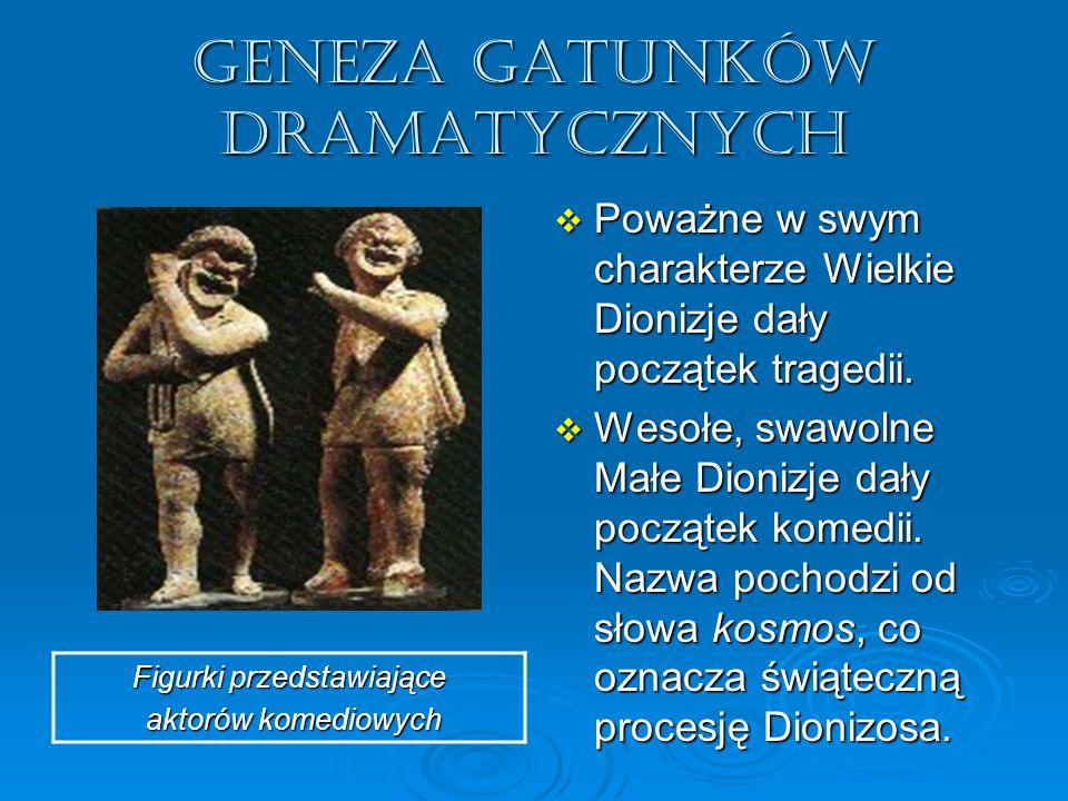 GENEZA GATUNKÓW DRAMATYCZNYCH  Poważne w swym charakterze Wielkie Dionizje dały początek tragedii.  Wesołe, swawolne Małe Dionizje dały początek kom