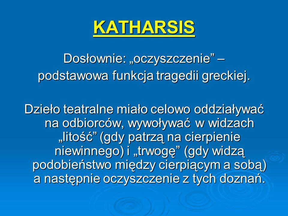 """KATHARSIS Dosłownie: """"oczyszczenie"""" – podstawowa funkcja tragedii greckiej. Dzieło teatralne miało celowo oddziaływać na odbiorców, wywoływać w widzac"""