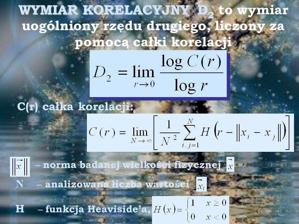 WYMIAR KORELACYJNY D 2 WYMIAR KORELACYJNY D 2 to wymiar uogólniony rzędu drugiego, liczony za pomocą całki korelacji C(r) całka korelacji: – norma badanej wielkości fizycznej N – analizowana liczba wartości H – funkcja Heaviside'a,