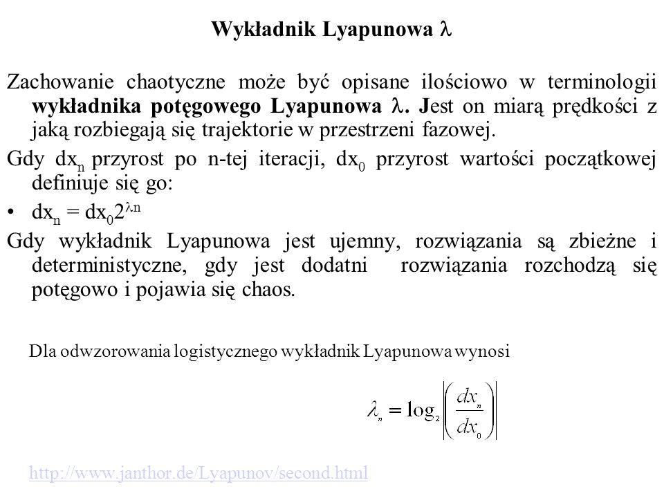 Wykładnik Lyapunowa Zachowanie chaotyczne może być opisane ilościowo w terminologii wykładnika potęgowego Lyapunowa.