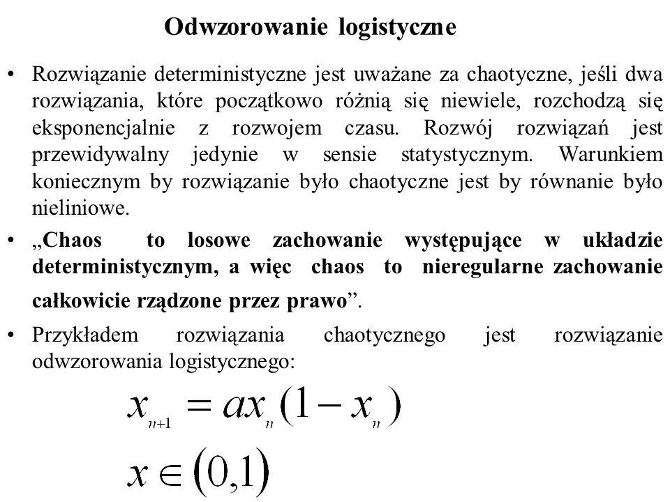 Odwzorowanie logistyczne Rozwiązanie deterministyczne jest uważane za chaotyczne, jeśli dwa rozwiązania, które początkowo różnią się niewiele, rozchodzą się eksponencjalnie z rozwojem czasu.