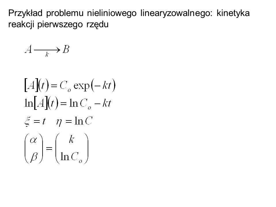 Przykład problemu nieliniowego linearyzowalnego: kinetyka reakcji pierwszego rzędu