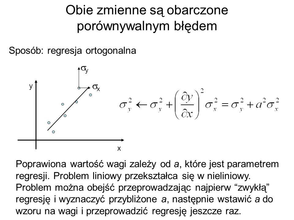 Obie zmienne są obarczone porównywalnym błędem x y xx yy Poprawiona wartość wagi zależy od a, które jest parametrem regresji. Problem liniowy prze