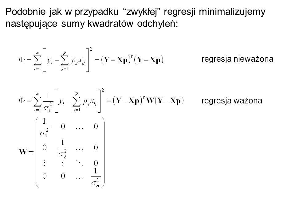 """regresja nieważona regresja ważona Podobnie jak w przypadku """"zwykłej"""" regresji minimalizujemy następujące sumy kwadratów odchyleń:"""
