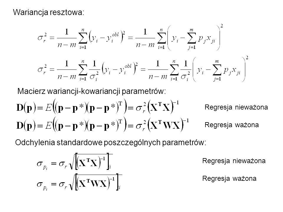 Macierz wariancji-kowariancji parametrów: Wariancja resztowa: Odchylenia standardowe poszczególnych parametrów: Regresja nieważona Regresja ważona Reg