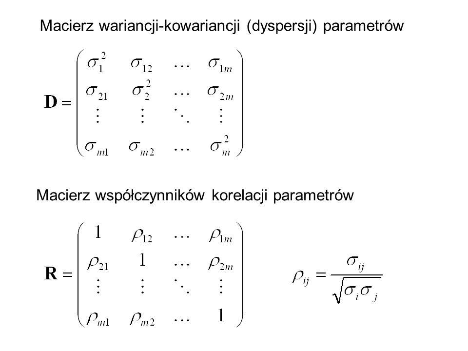 Macierz wariancji-kowariancji (dyspersji) parametrów Macierz współczynników korelacji parametrów