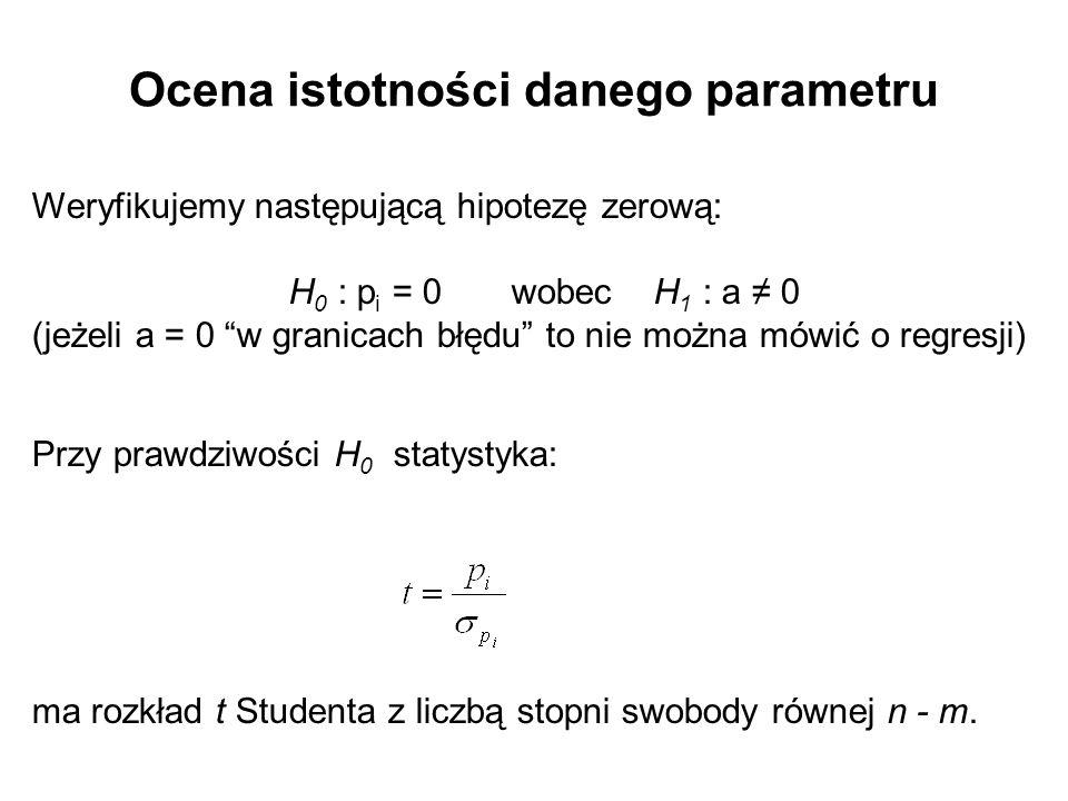 """Ocena istotności danego parametru Weryfikujemy następującą hipotezę zerową: H 0 : p i = 0 wobec H 1 : a ≠ 0 (jeżeli a = 0 """"w granicach błędu"""" to nie m"""
