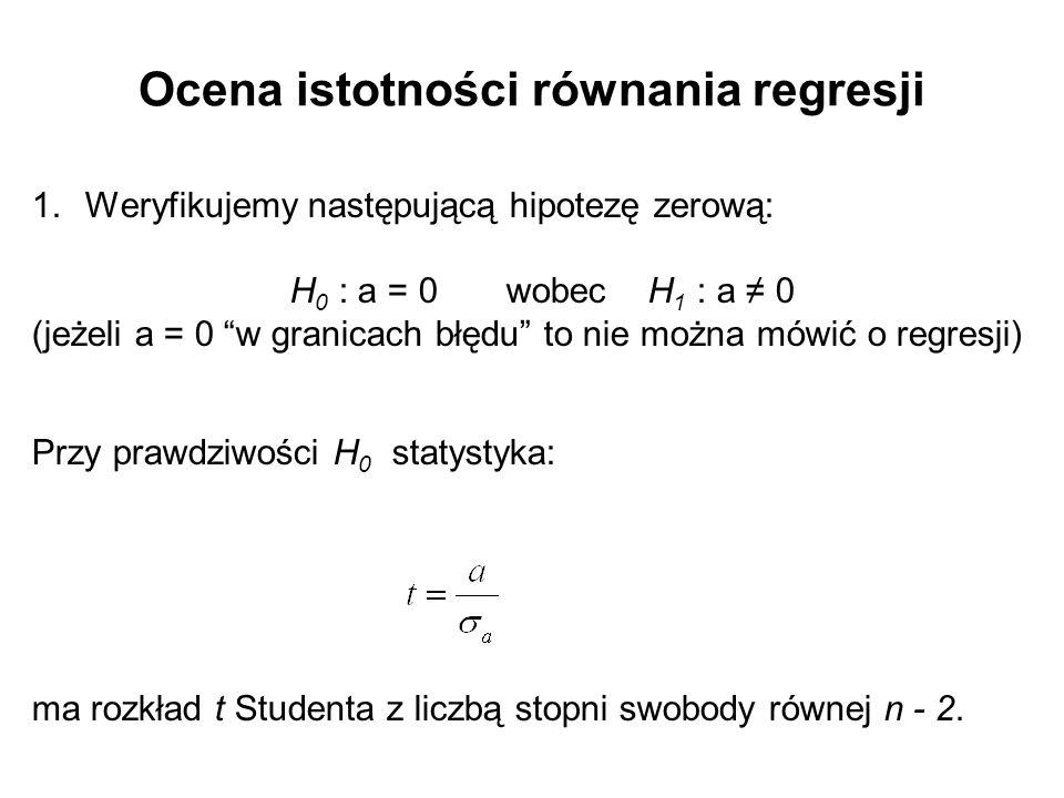 """Ocena istotności równania regresji 1.Weryfikujemy następującą hipotezę zerową: H 0 : a = 0 wobec H 1 : a ≠ 0 (jeżeli a = 0 """"w granicach błędu"""" to nie"""