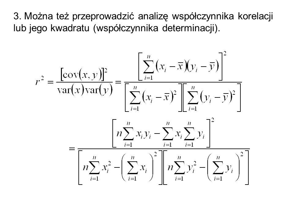 3. Można też przeprowadzić analizę współczynnika korelacji lub jego kwadratu (współczynnika determinacji).