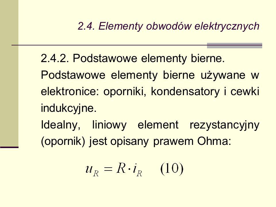 2.4. Elementy obwodów elektrycznych 2.4.2. Podstawowe elementy bierne. Podstawowe elementy bierne używane w elektronice: oporniki, kondensatory i cewk