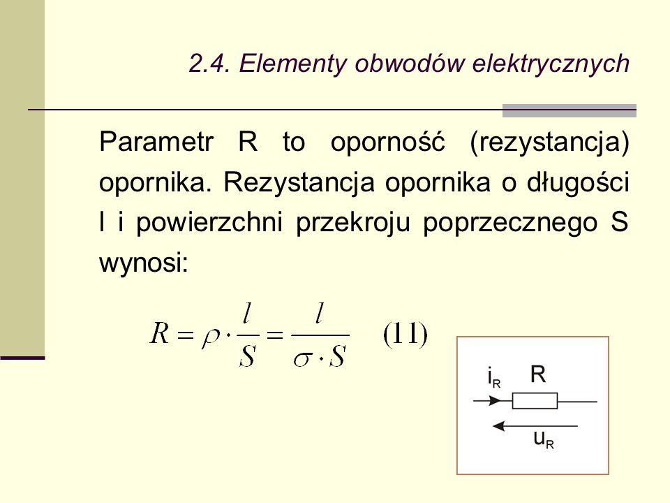2.4. Elementy obwodów elektrycznych Parametr R to oporność (rezystancja) opornika. Rezystancja opornika o długości l i powierzchni przekroju poprzeczn