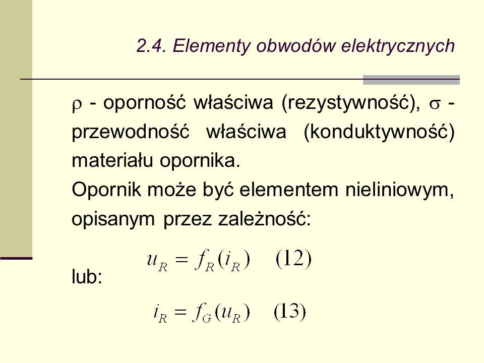 2.4. Elementy obwodów elektrycznych  - oporność właściwa (rezystywność),  - przewodność właściwa (konduktywność) materiału opornika. Opornik może by