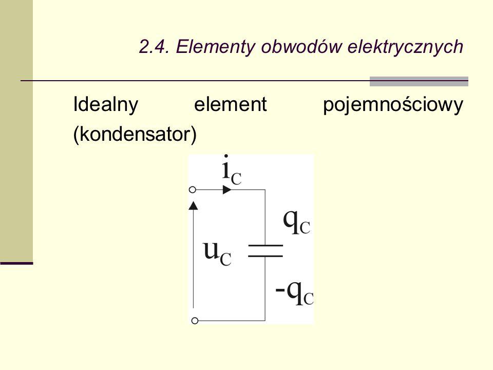 2.4. Elementy obwodów elektrycznych Idealny element pojemnościowy (kondensator)