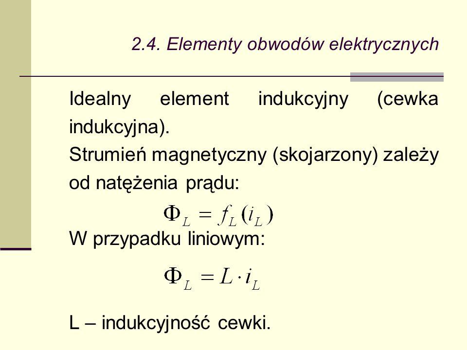 2.4. Elementy obwodów elektrycznych Idealny element indukcyjny (cewka indukcyjna). Strumień magnetyczny (skojarzony) zależy od natężenia prądu: W przy