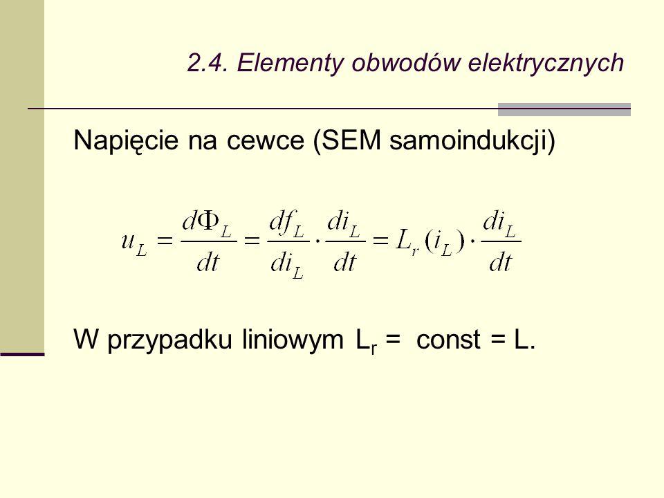Napięcie na cewce (SEM samoindukcji) W przypadku liniowym L r = const = L.