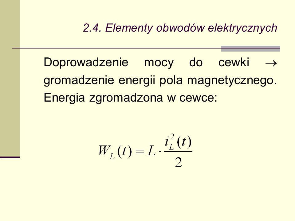 2.4. Elementy obwodów elektrycznych Doprowadzenie mocy do cewki  gromadzenie energii pola magnetycznego. Energia zgromadzona w cewce: