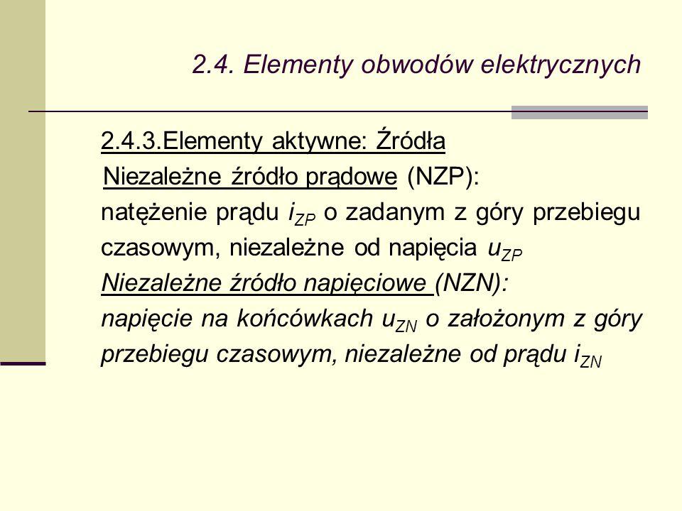 2.4. Elementy obwodów elektrycznych 2.4.3.Elementy aktywne: Źródła Niezależne źródło prądowe (NZP): natężenie prądu i ZP o zadanym z góry przebiegu cz