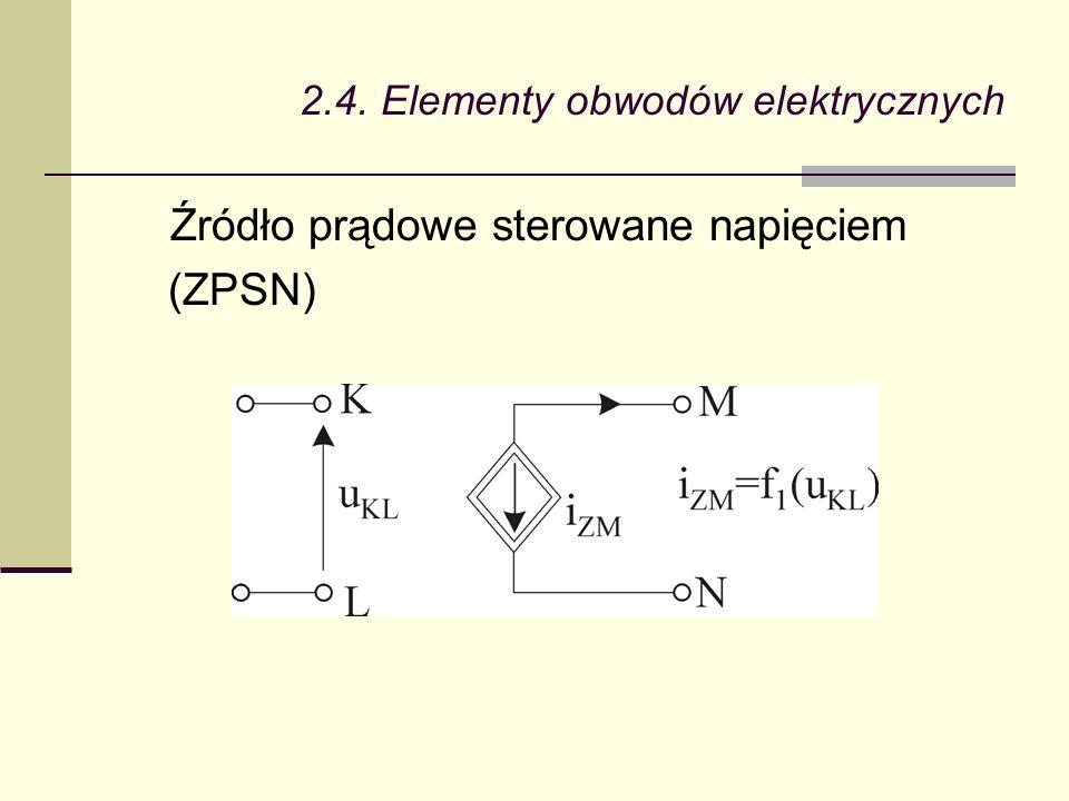2.4. Elementy obwodów elektrycznych Źródło prądowe sterowane napięciem (ZPSN)