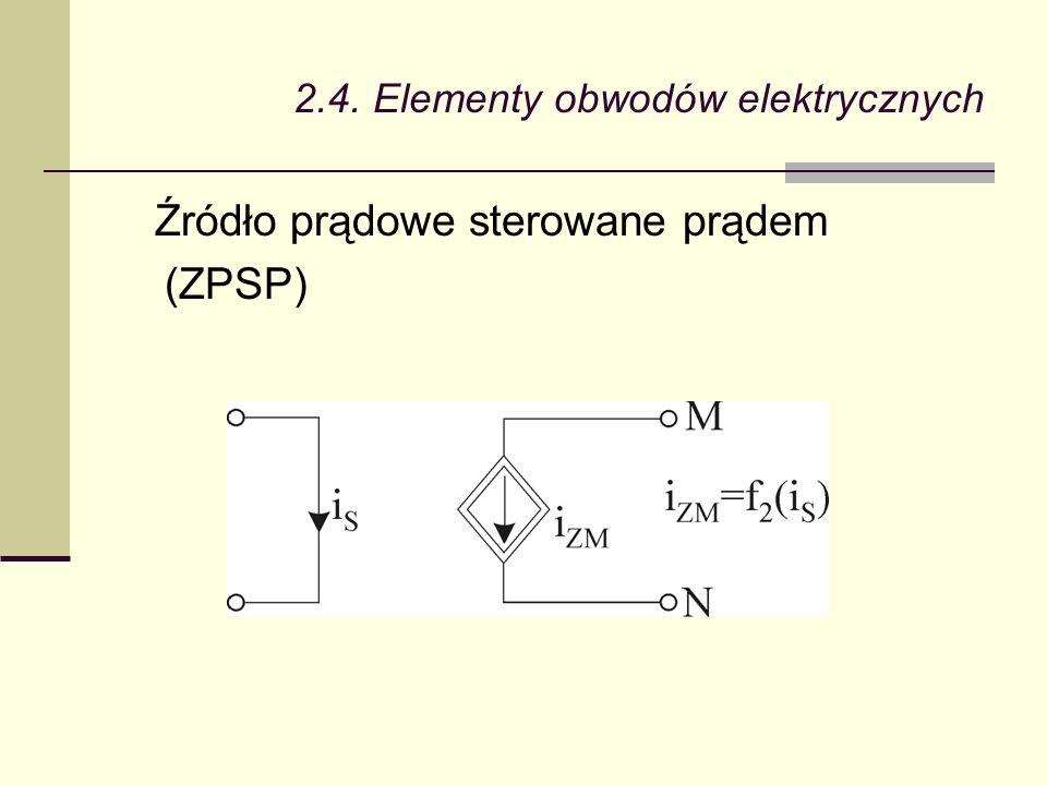 2.4. Elementy obwodów elektrycznych Źródło prądowe sterowane prądem (ZPSP)
