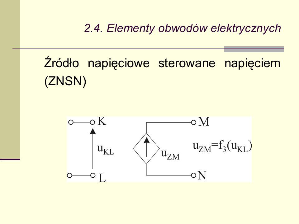 2.4. Elementy obwodów elektrycznych Źródło napięciowe sterowane napięciem (ZNSN)