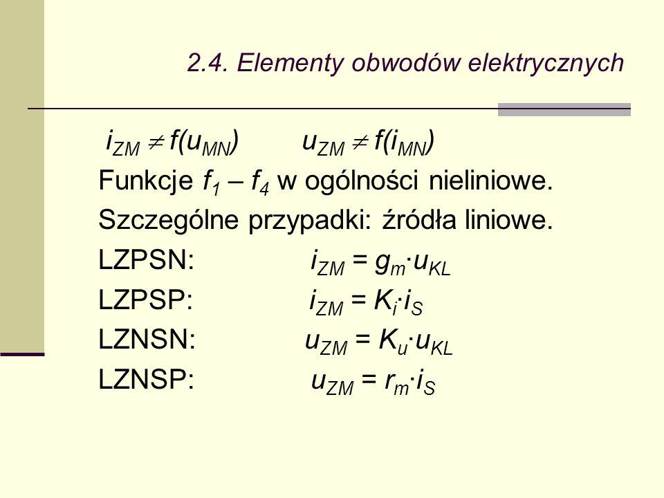 2.4. Elementy obwodów elektrycznych i ZM  f(u MN ) u ZM  f(i MN ) Funkcje f 1 – f 4 w ogólności nieliniowe. Szczególne przypadki: źródła liniowe. LZ