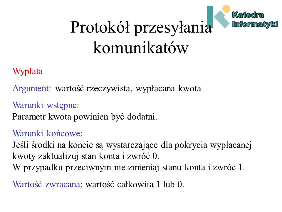 Protokół przesyłania komunikatów Nazwa metody.
