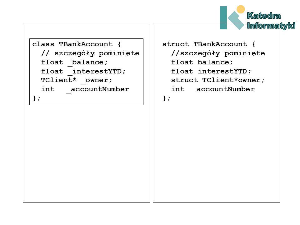 class TBankAccount { //szczegóły pominięte float _balance; float _interestYTD; TClient* _owner; int _accountNumber };