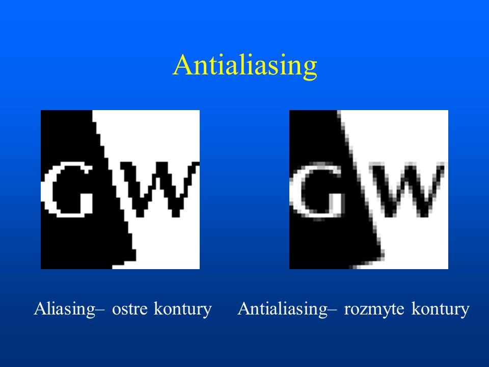 Antialiasing Aliasing– ostre konturyAntialiasing– rozmyte kontury