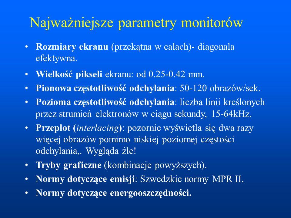 Najważniejsze parametry monitorów Rozmiary ekranu (przekątna w calach)- diagonala efektywna. Wielkość pikseli ekranu: od 0.25-0.42 mm. Pionowa częstot