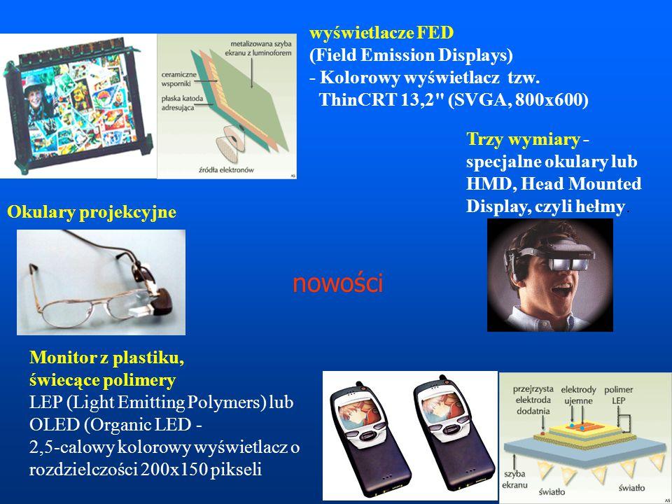 wyświetlacze FED (Field Emission Displays) - Kolorowy wyświetlacz tzw. ThinCRT 13,2