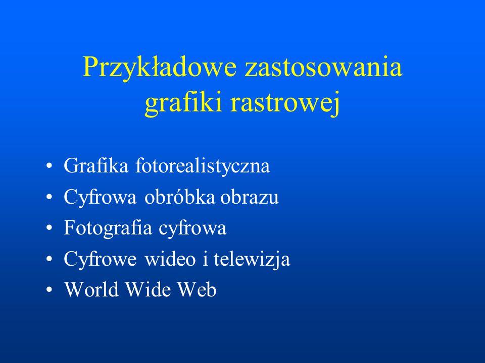 Przykładowe zastosowania grafiki rastrowej Grafika fotorealistyczna Cyfrowa obróbka obrazu Fotografia cyfrowa Cyfrowe wideo i telewizja World Wide Web